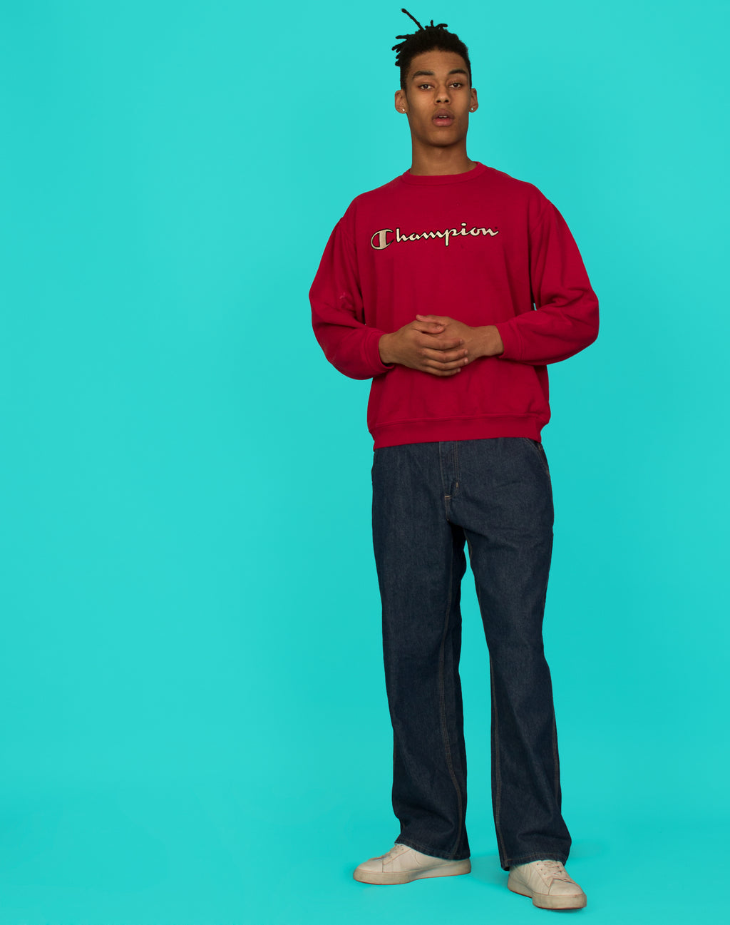 CHAMPION RED LOGO SWEATSHIRT