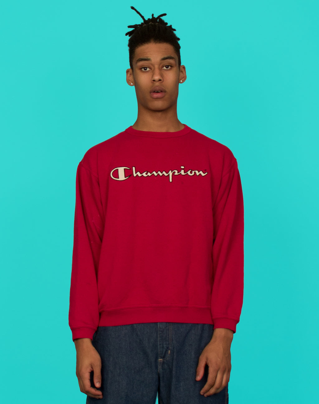 CHAMPION RED LOGO SWEATER
