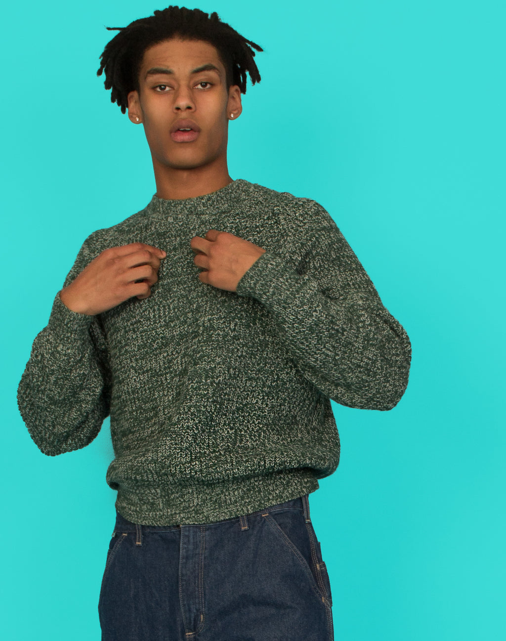 GREEN CHUNKY KNIT JUMPER