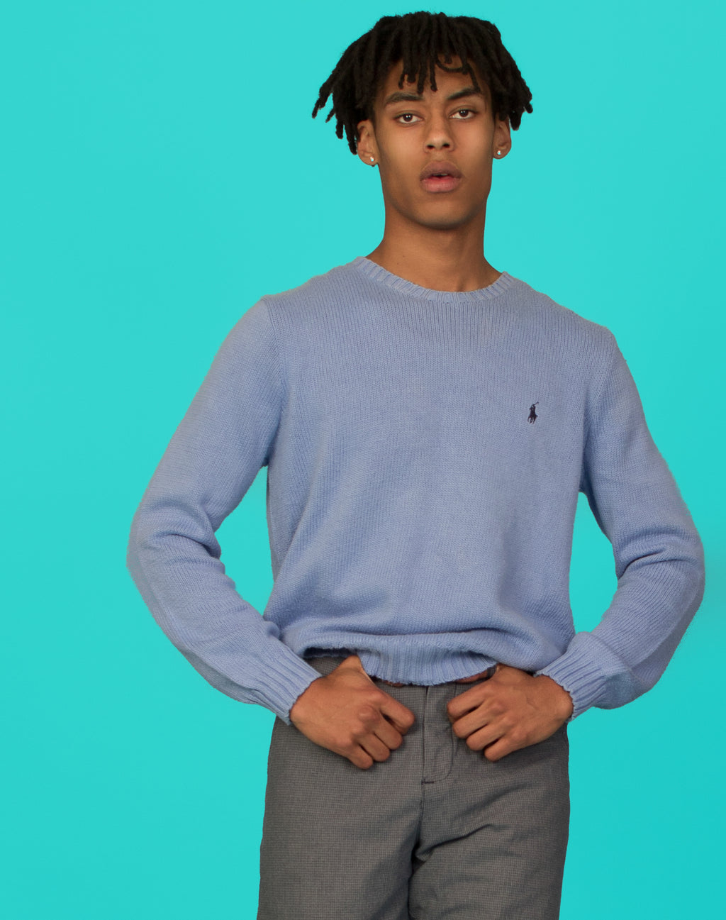 RALPH LAUREN PALE BLUE JUMPER