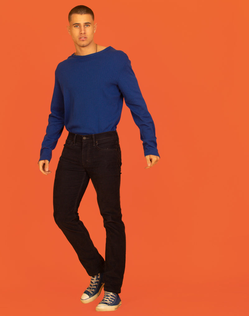 RALPH LAUREN COBALT BLUE RIBBED T-SHIRT