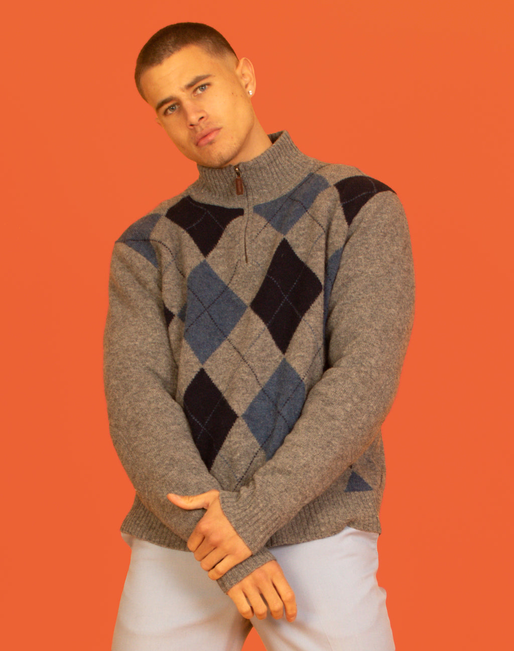 ARGYLE ZIP NECK WOOL JUMPER