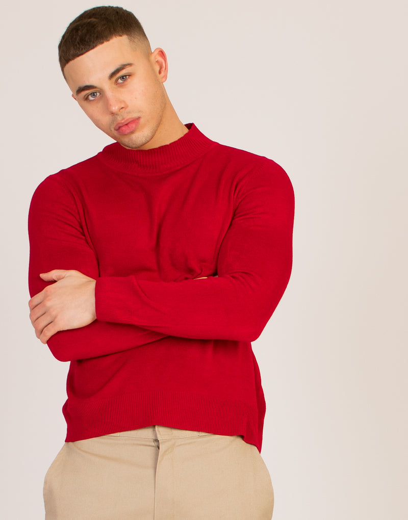 POLAR NECK RED JUMPER