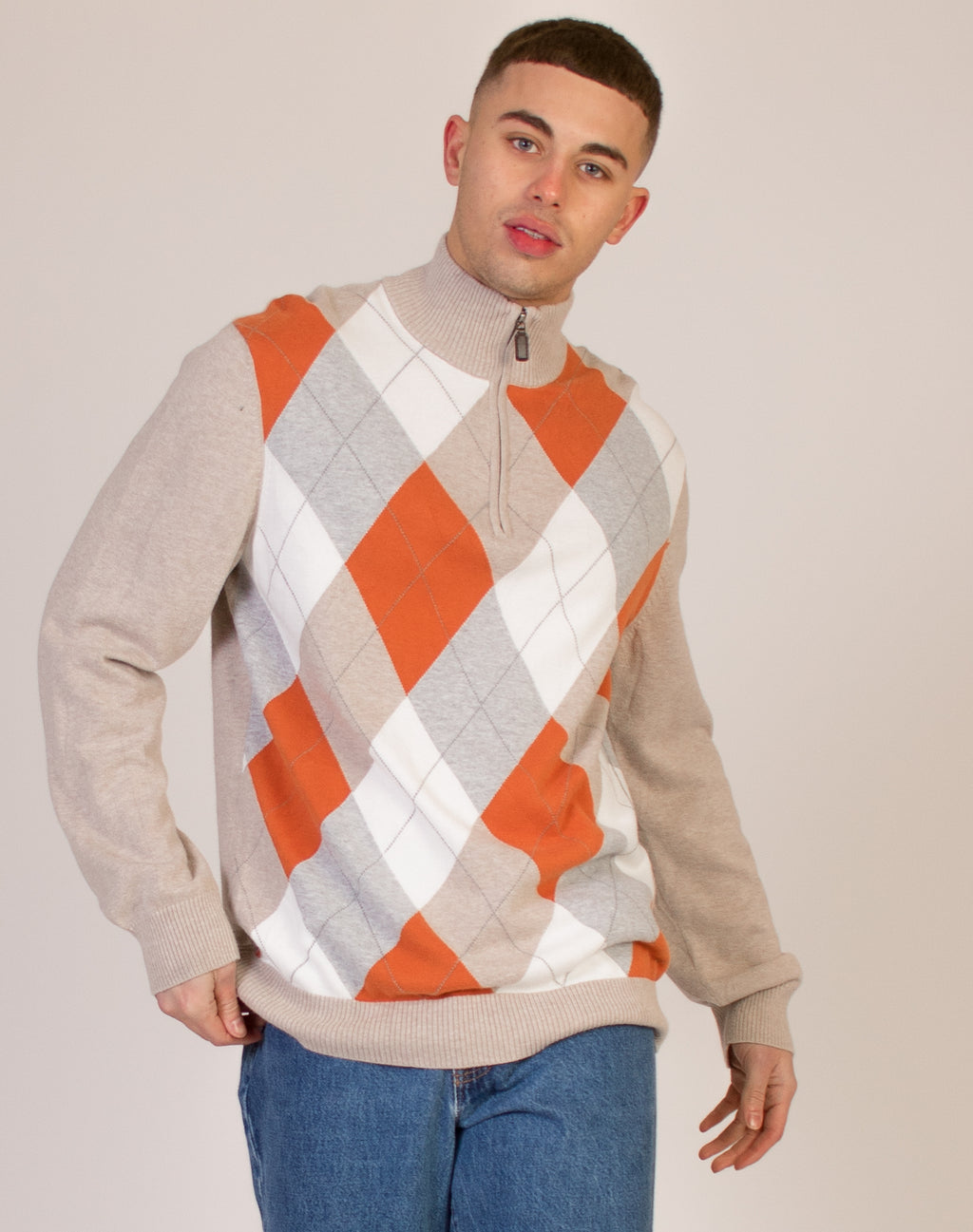 ARGYLE HIGH NECK GREY JUMPER