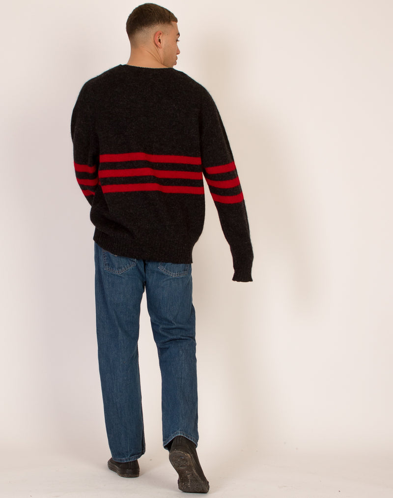 GAP BLACK WOOL STRIPED SWEATSHIRT