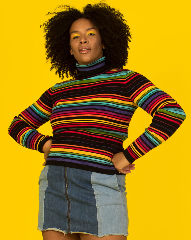 RAINBOW AND BLACK STRIPE TURTLENECK