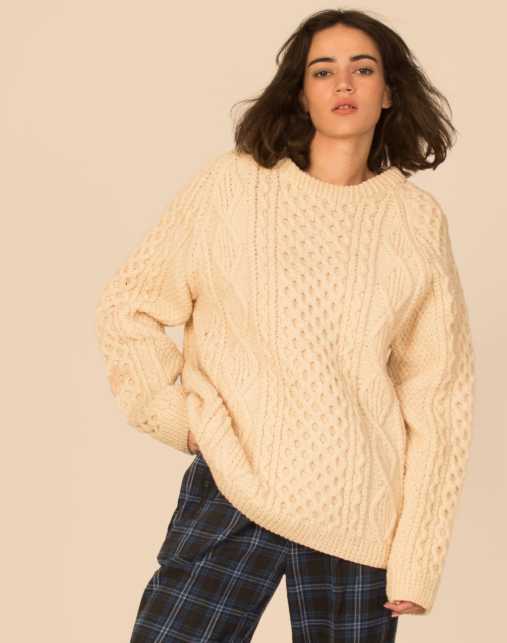 CREAM ARAN CABLE KNIT JUMPER