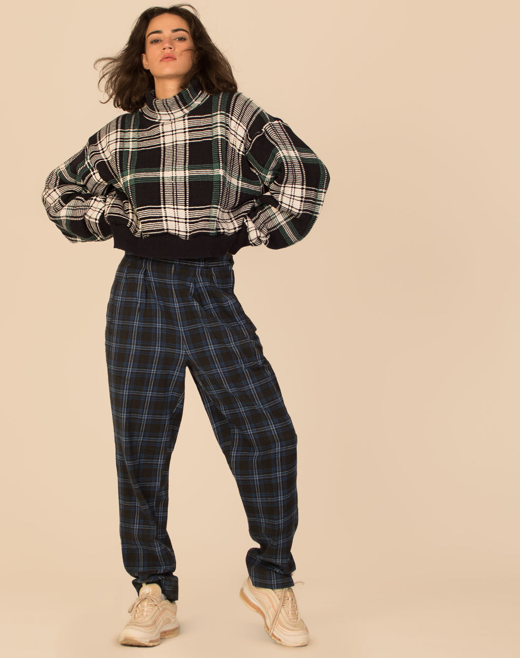 CHUNKY CHECK CROPPED KNIT