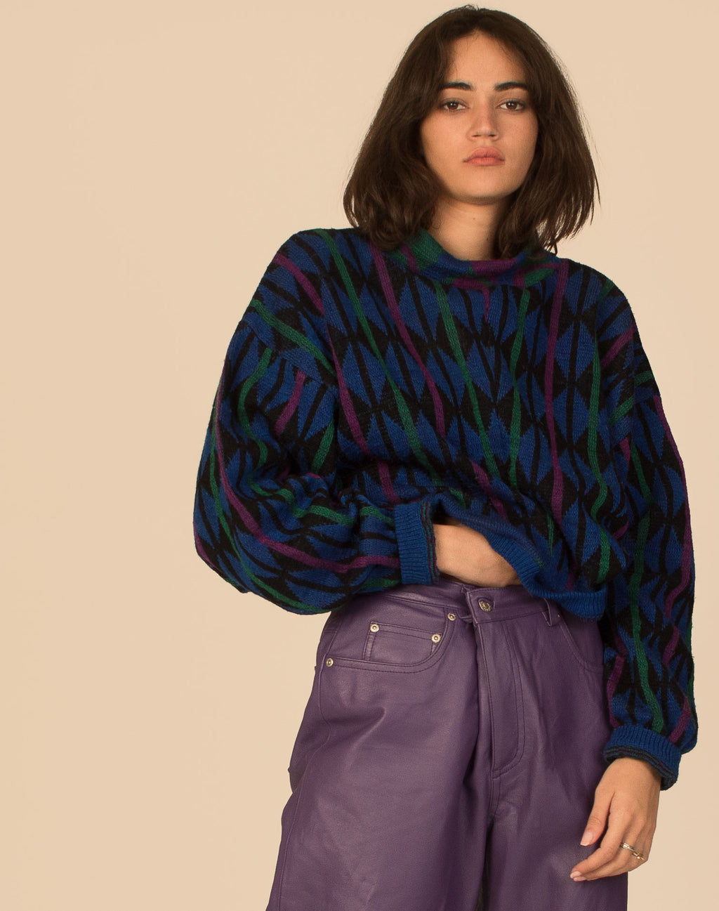 GEOMETRIC ARGYLE CROPPED JUMPER
