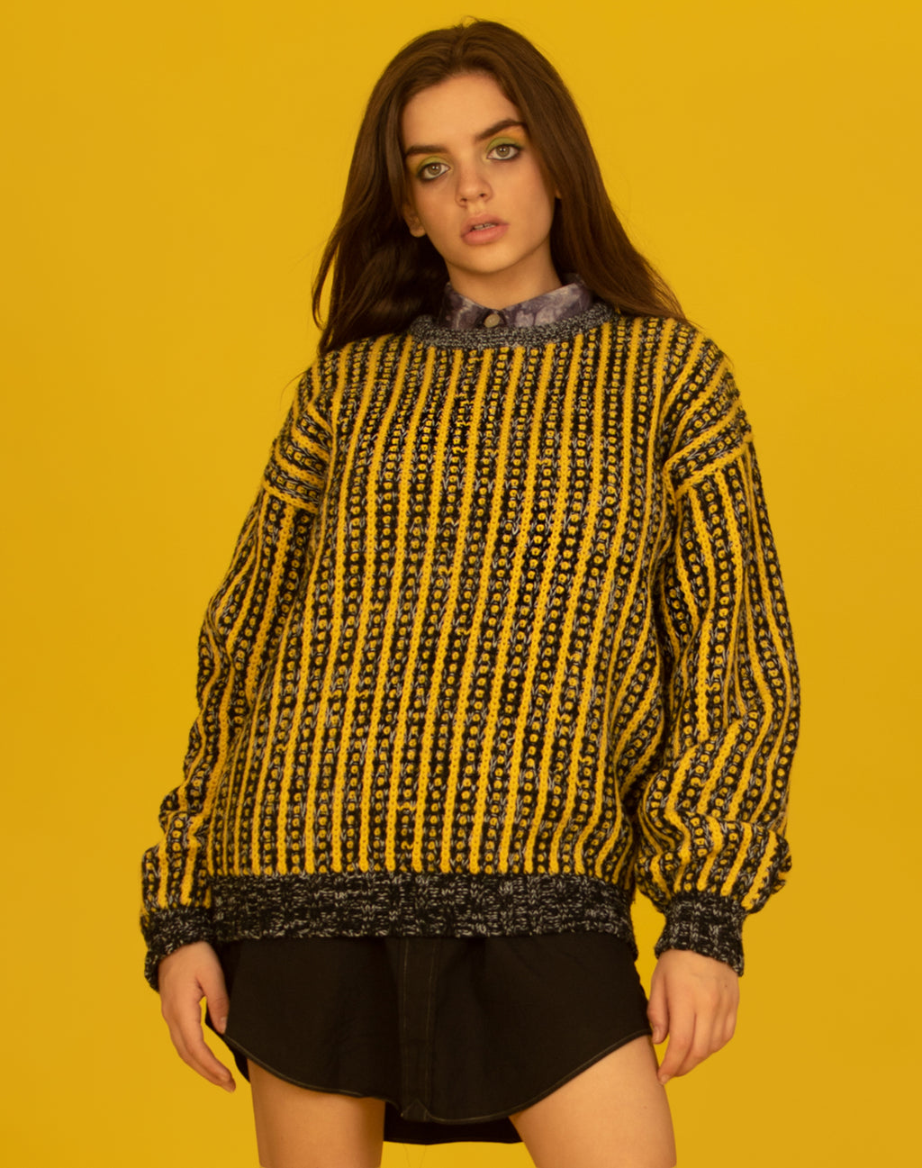 YELLOW STRIPED CHUNKY KNIT JUMPER