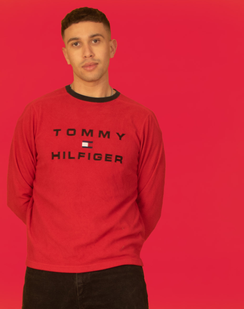 TOMMY HILFIGER RED KNIT JUMPER
