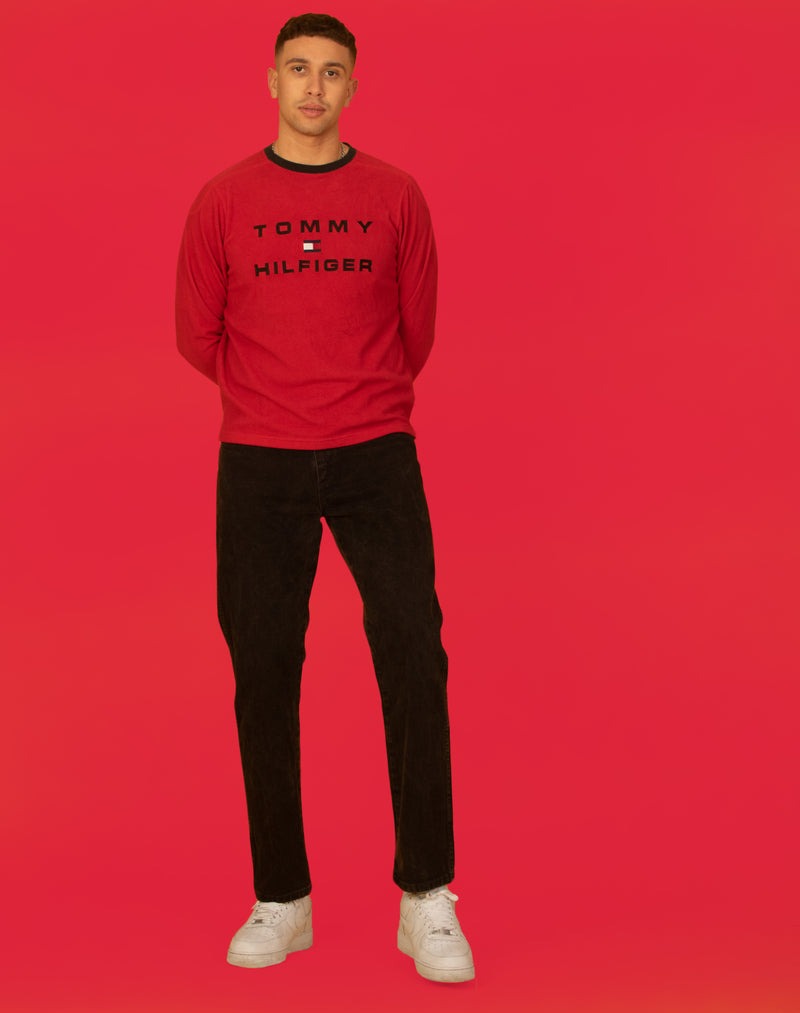 TOMMY HILFIGER RED KNIT SWEATSHIRT