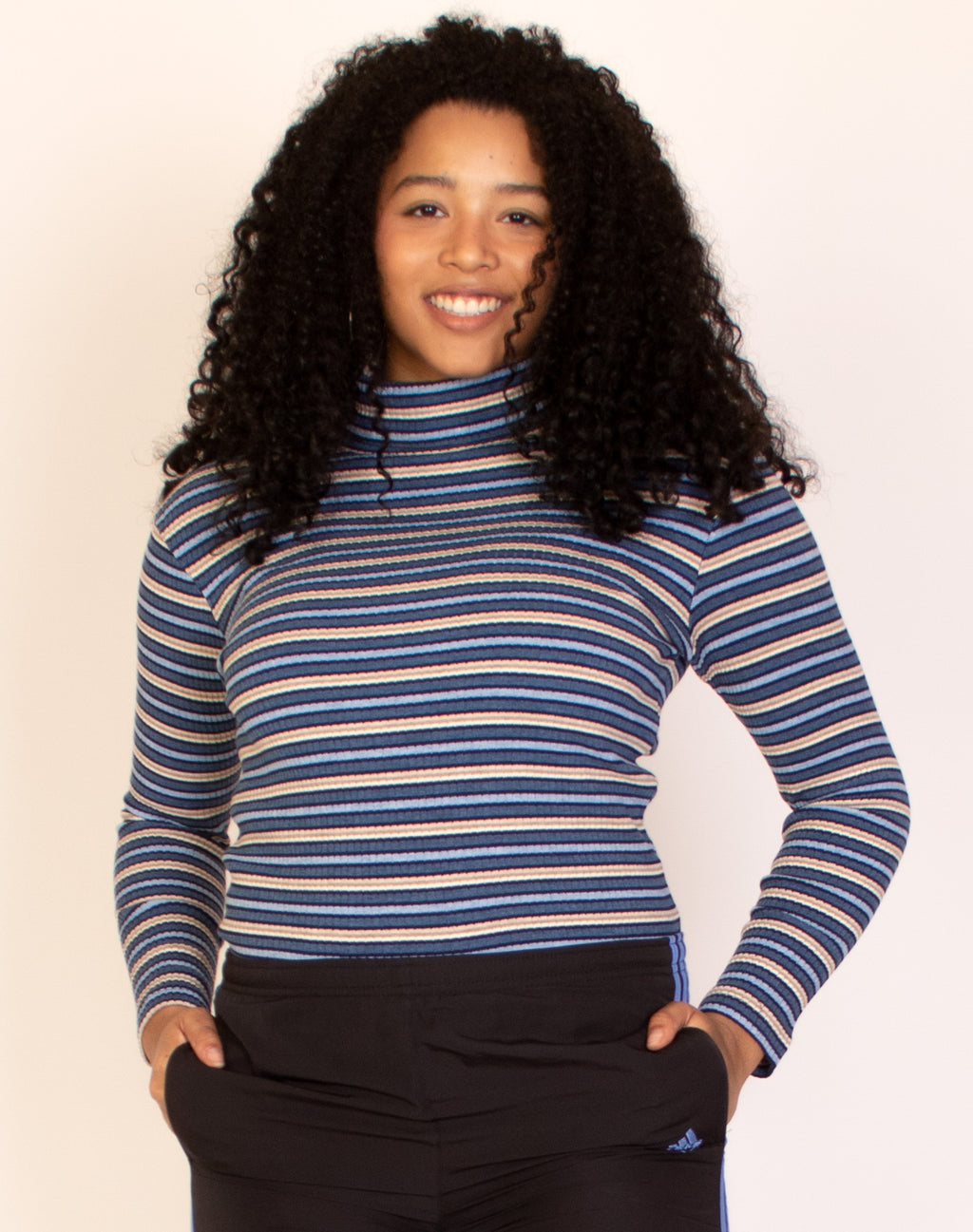 BLUE STRIPED TURTLE NECK