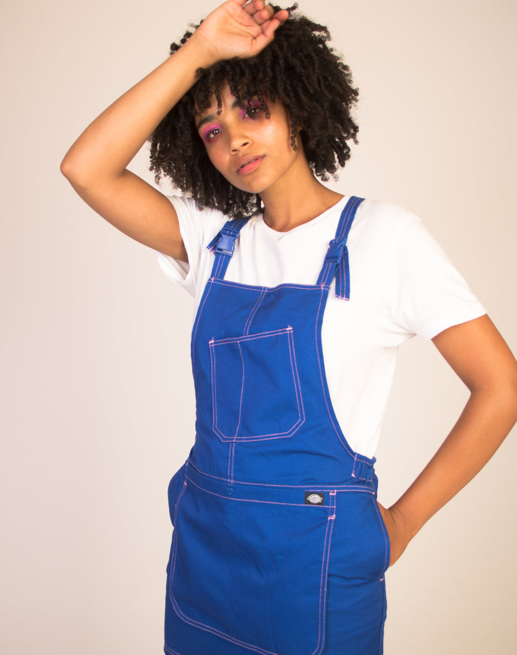 DICKIES BLUE CONTRAST STITCH PINAFORE