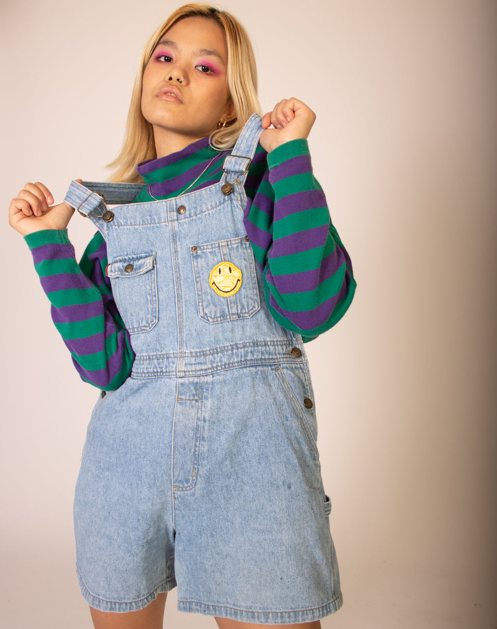 BLUE SMILEY DENIM PLAYSUIT