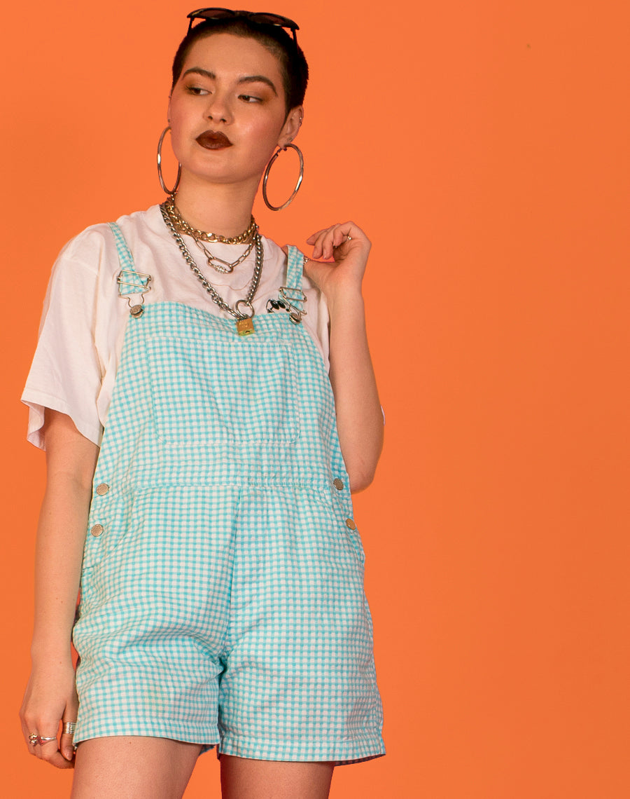 BLUE GINGHAM SHORT DUNGAREES