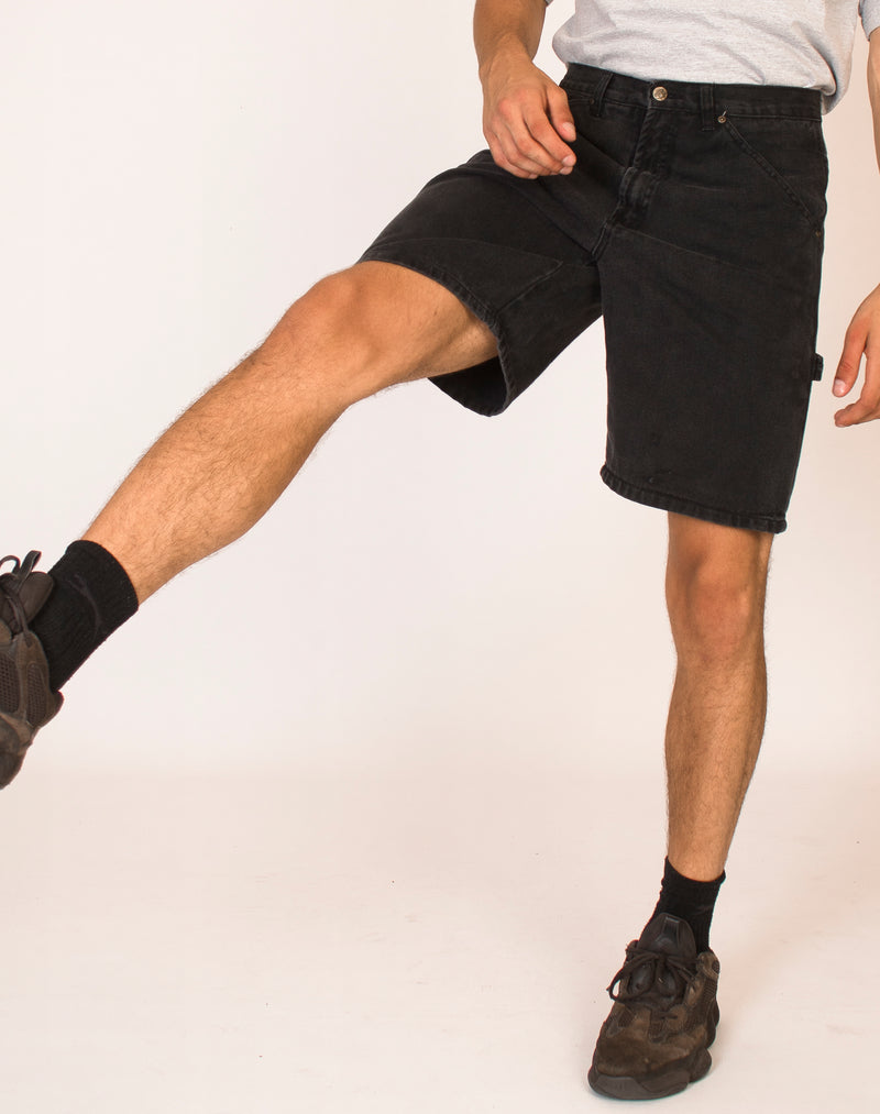 WASHED BLACK DENIM SHORTS