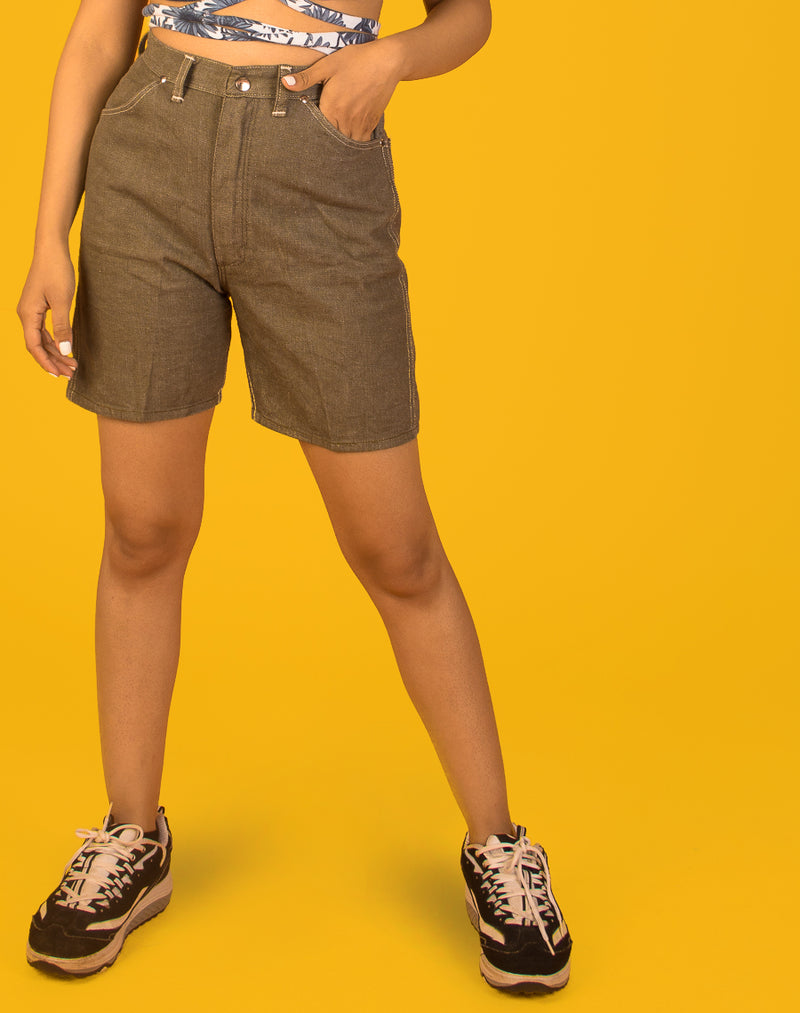 WRANGLER KHAKI DENIM MOM SHORTS