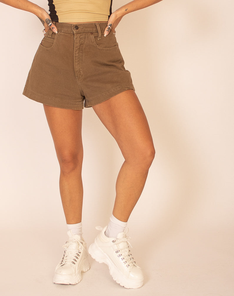 KHAKI DENIM HIGH WAISTED SHORTS