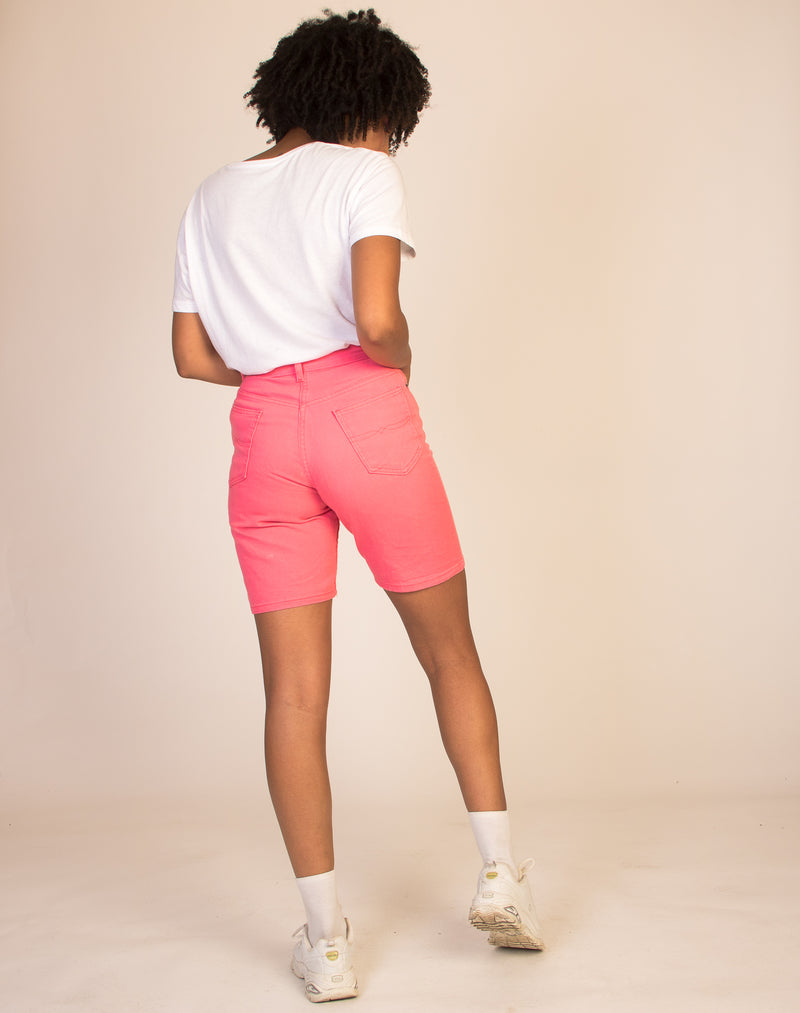 NEON PINK DENIM SHORTS