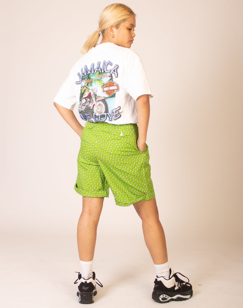 GREEN GRAPHIC SHORTS