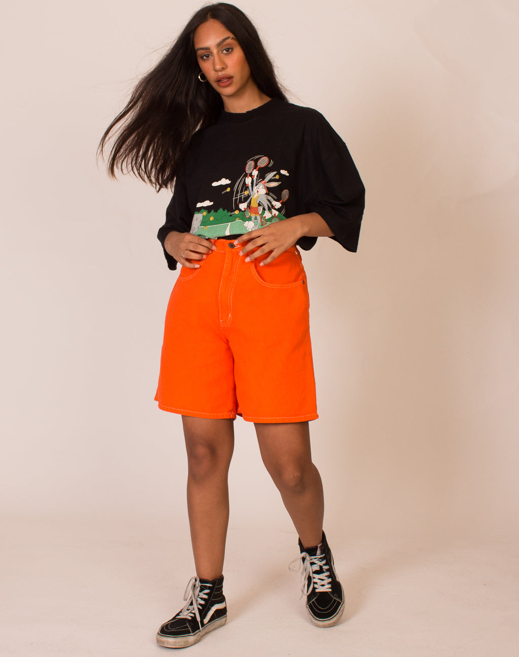 ORANGE MOM SHORTS