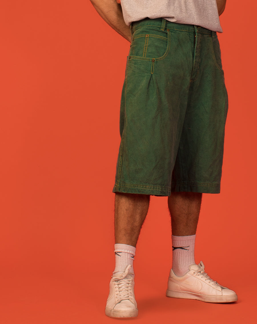 KARL KANI GREEN DENIM SHORTS