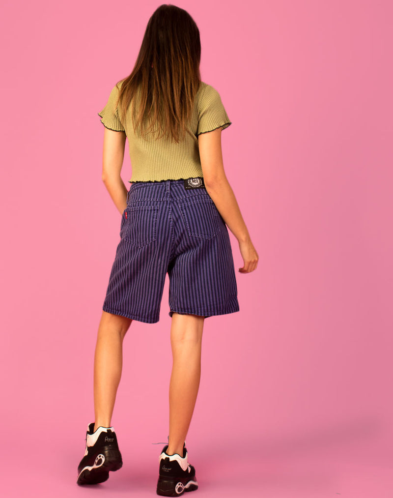 PURPLE STRIPE DENIM MOM SHORTS