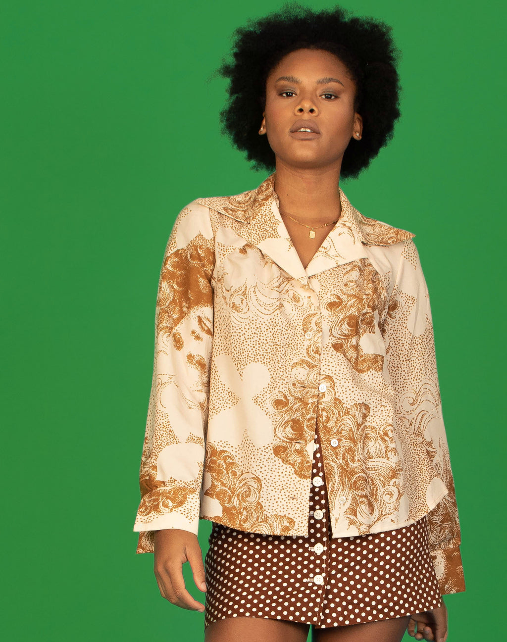 BROWN MOSAIC PORTRAIT SHIRT