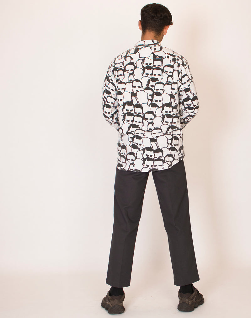 BLACK AND WHITE FACE PRINT SHIRT