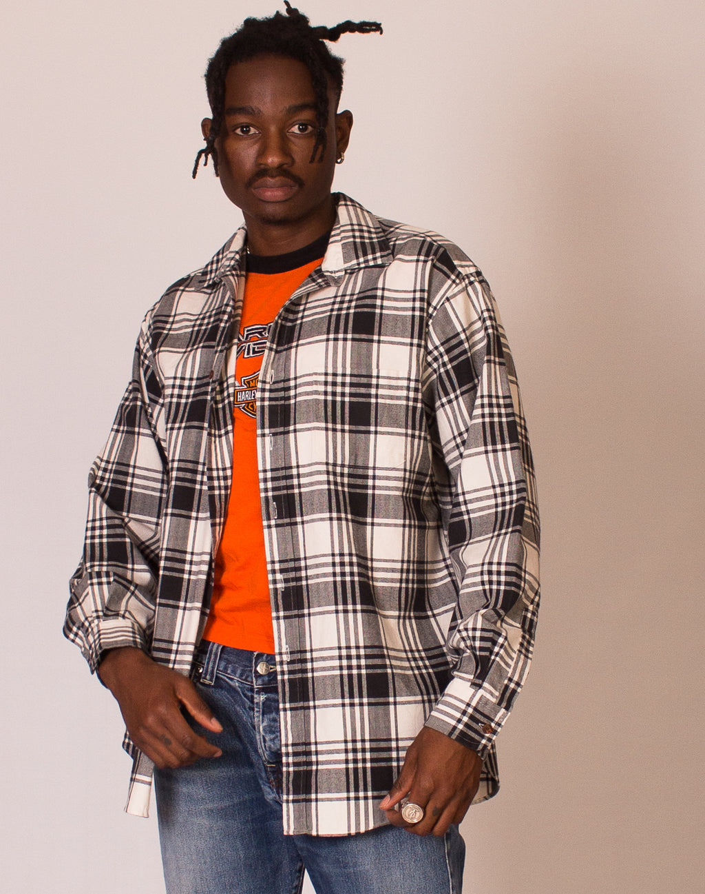 LL BEAN GREY CHECK SHIRT