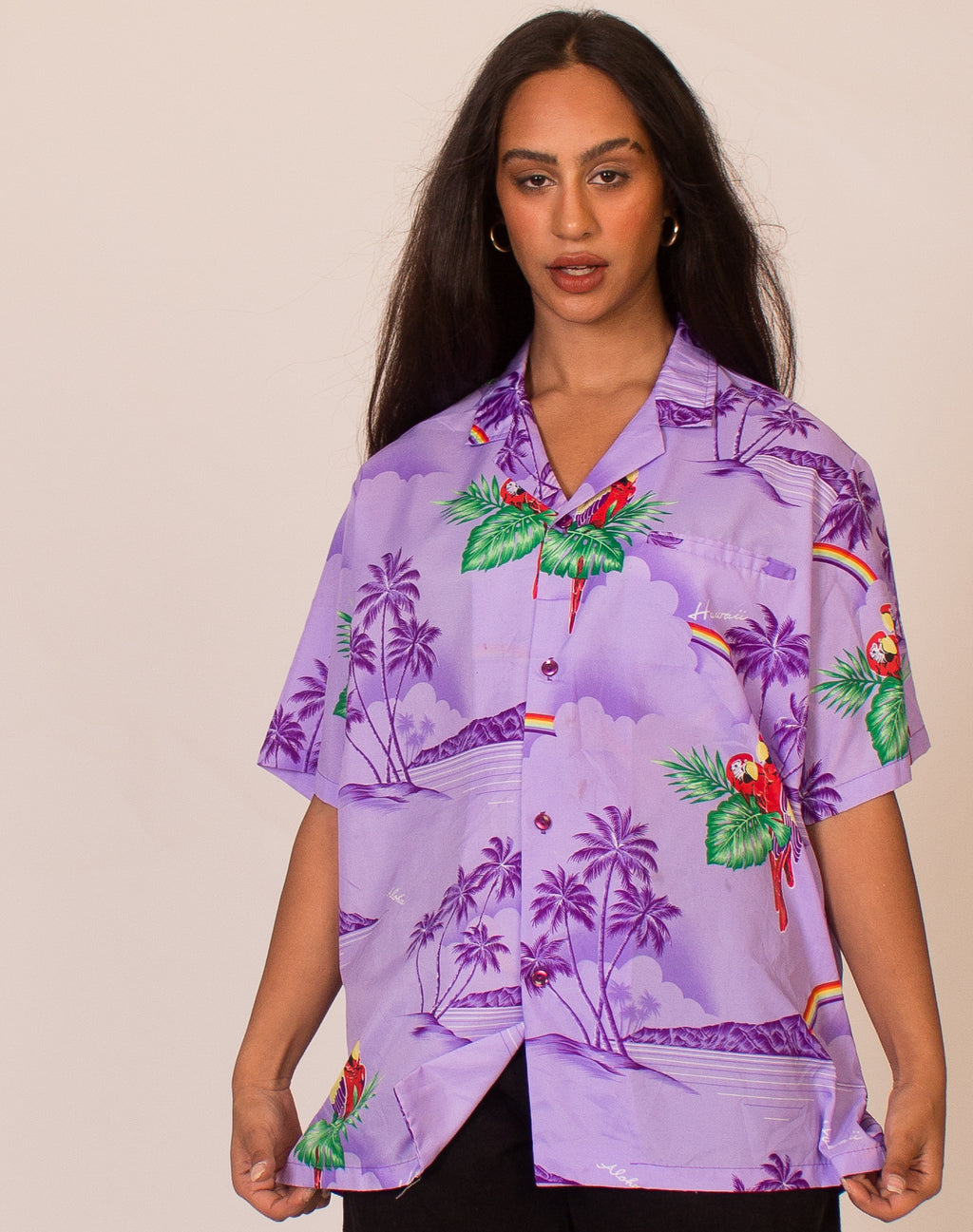 PURPLE PARROT HAWAIIAN SHIRT
