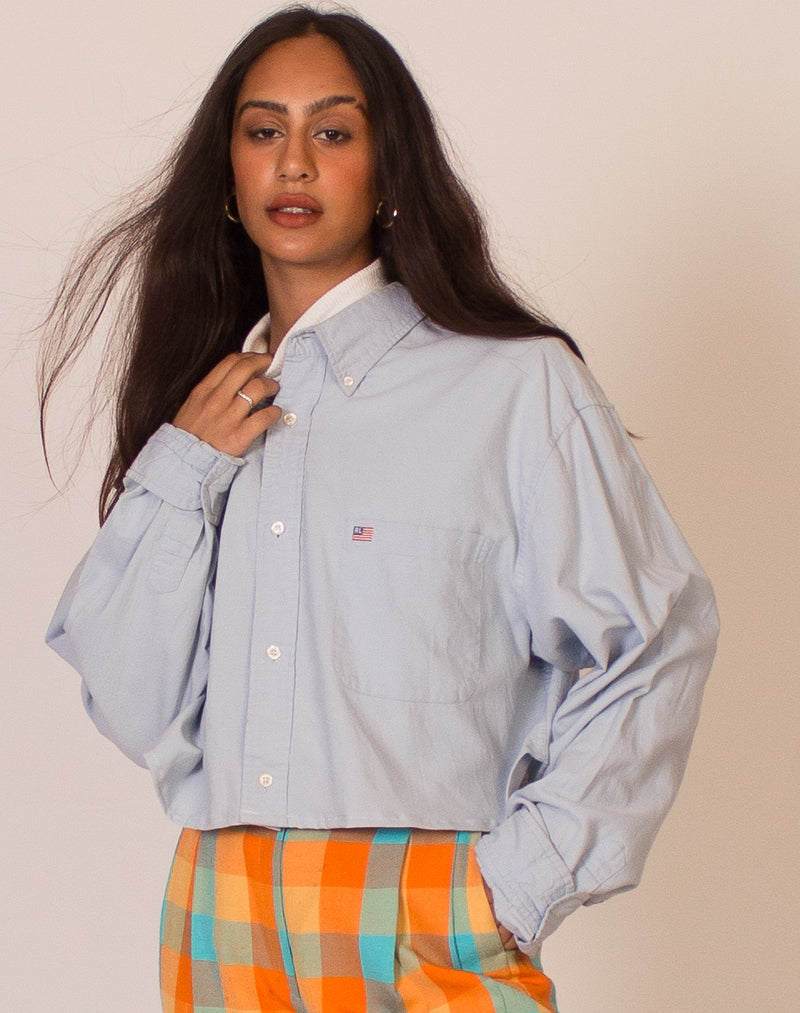RALPH LAUREN BABY BLUE CROPPED SHIRT