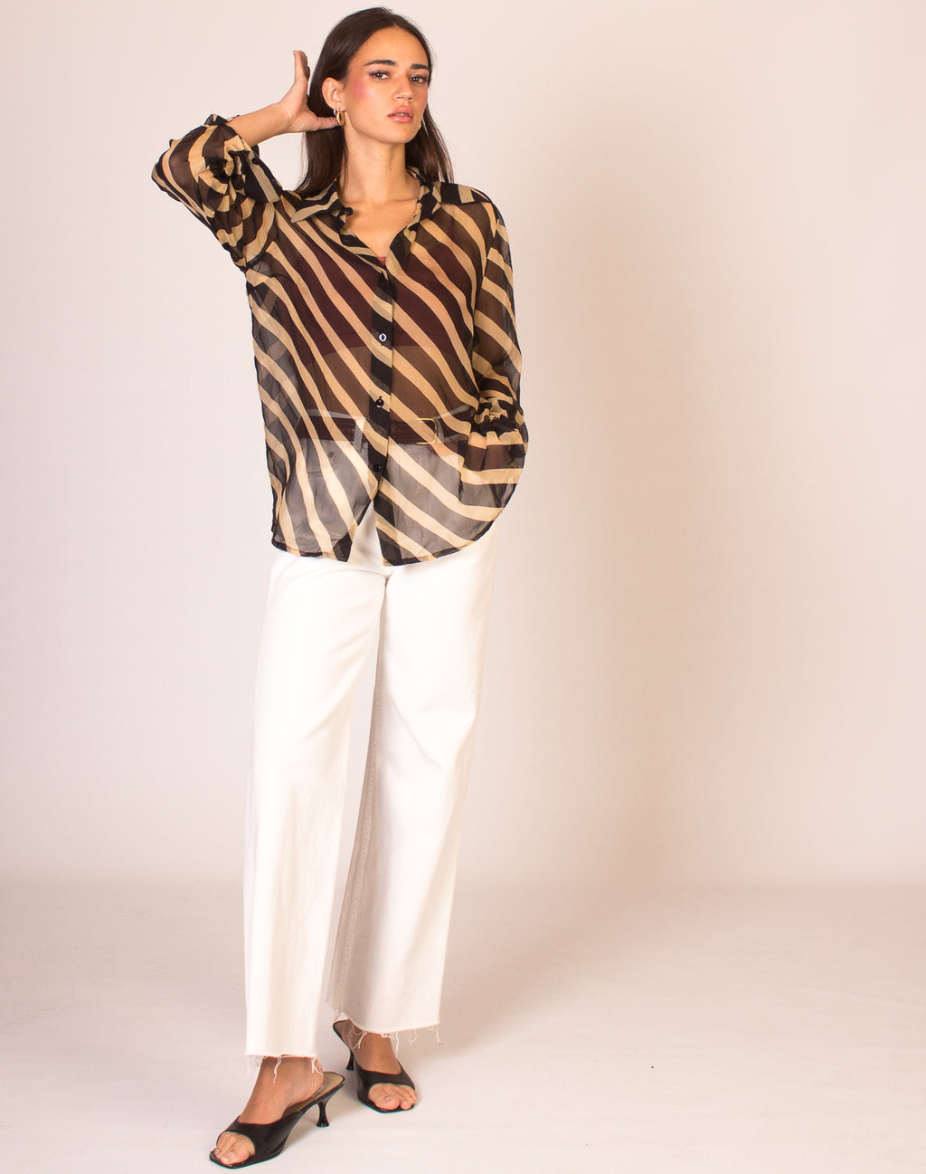 BEIGE STRIPE SHEER BLOUSE