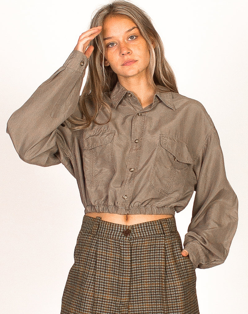 MINK CROPPED SILK SHIRT