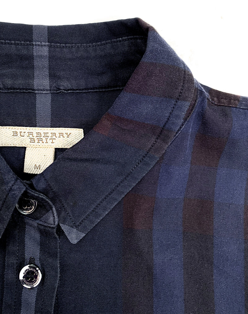 BURBERRY NAVY BUTTON UP SHIRT