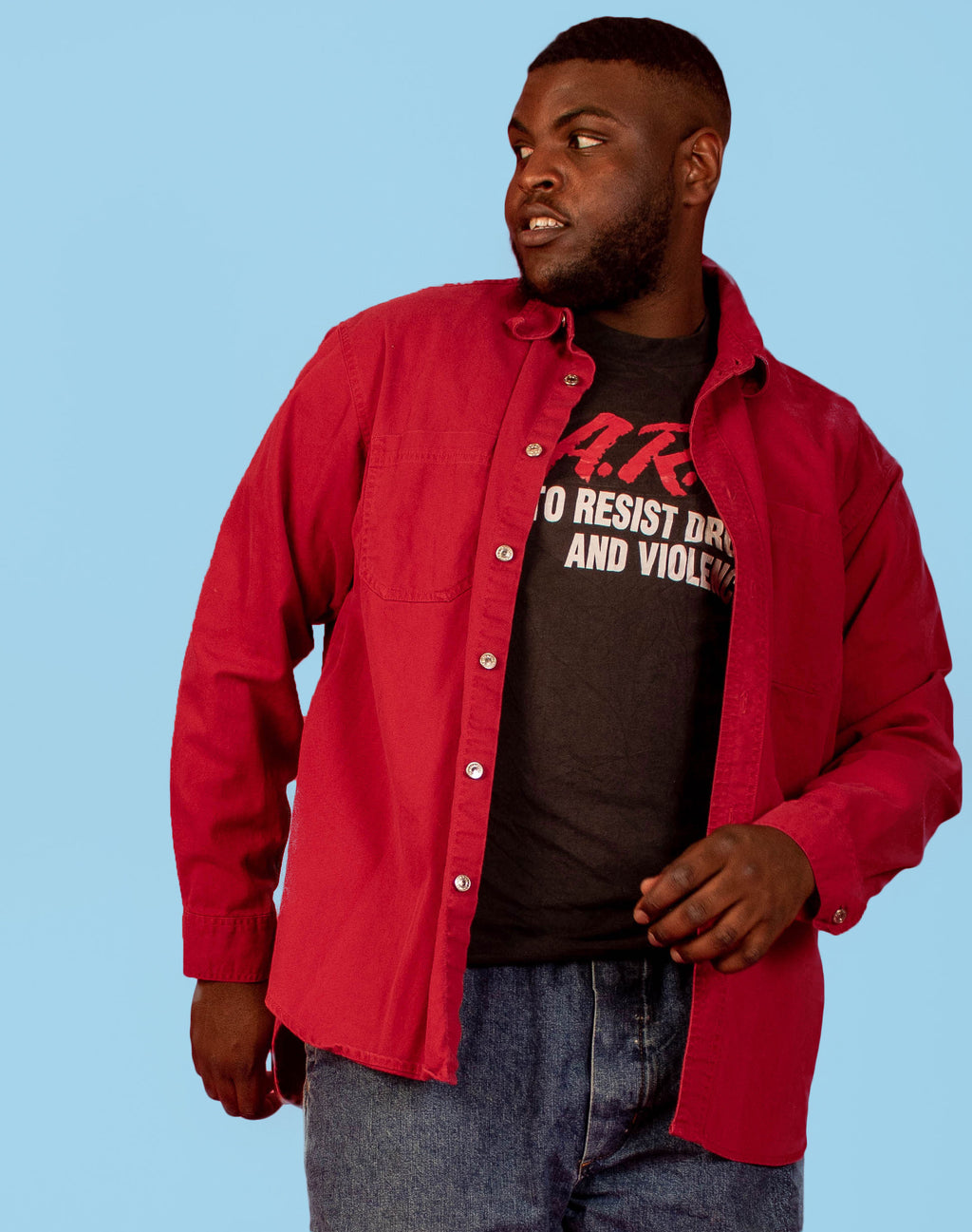 LEVI'S RED DENIM OVERSHIRT
