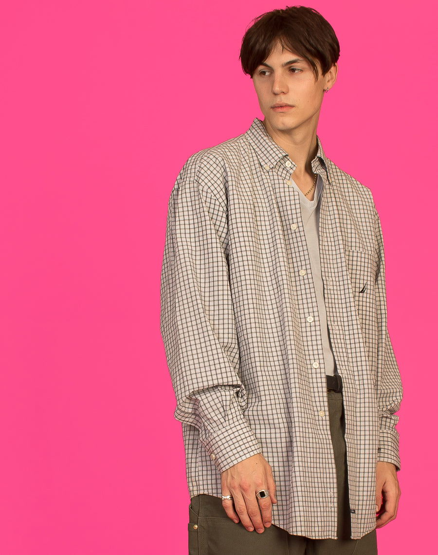 NAUTICA GREY GRID CHECK SHIRT