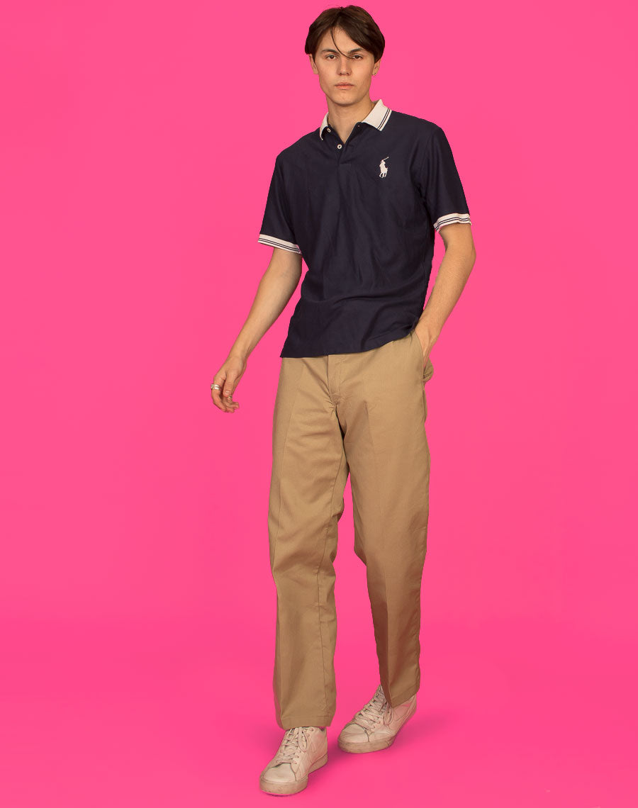 RALPH LAUREN CONTRAST WHITE AND NAVY POLO