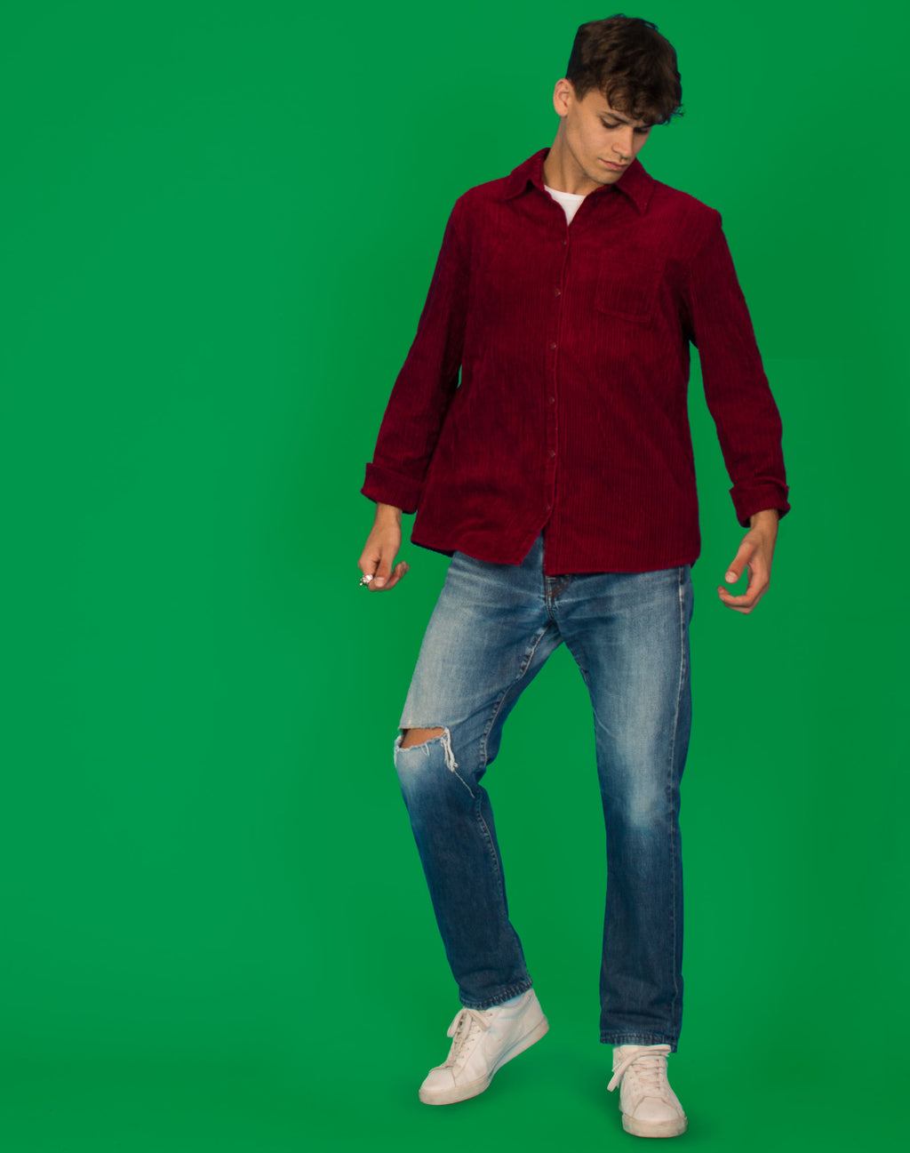 WINE RED CORD SHIRT