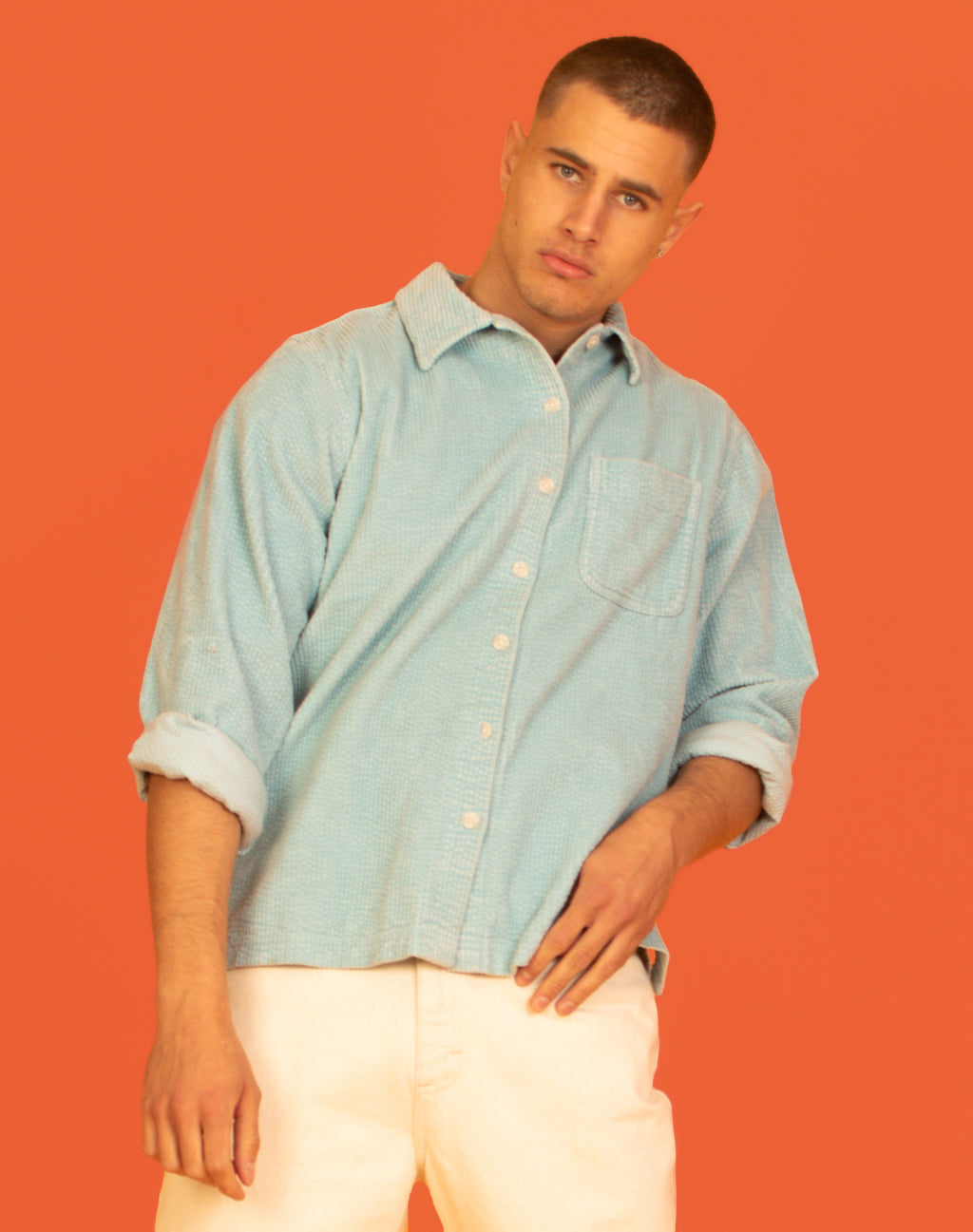 PALE BLUE SOFT CORD SHIRT
