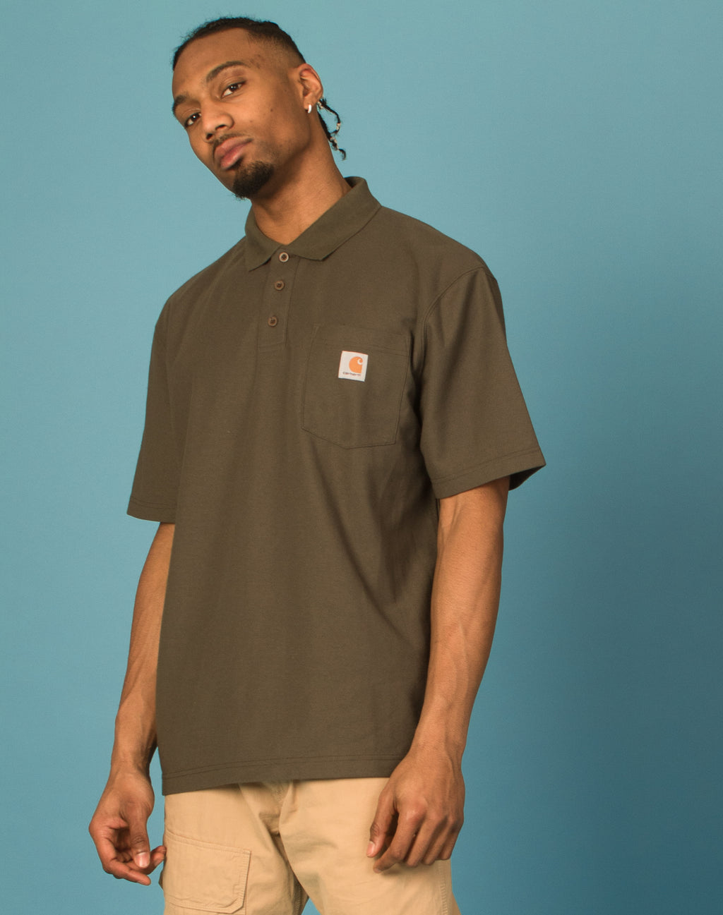 CARHARTT KHAKI GREEN POLO