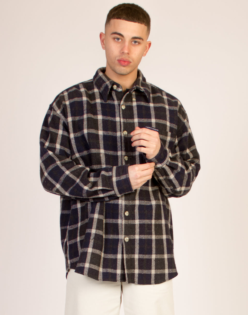 NAVY AND KHAKI CHECKERED SHIRT