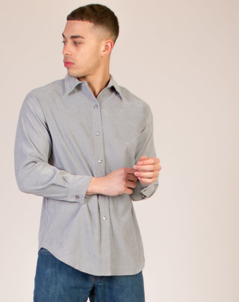 GREY SUEDE LONG SLEEVE SHIRT
