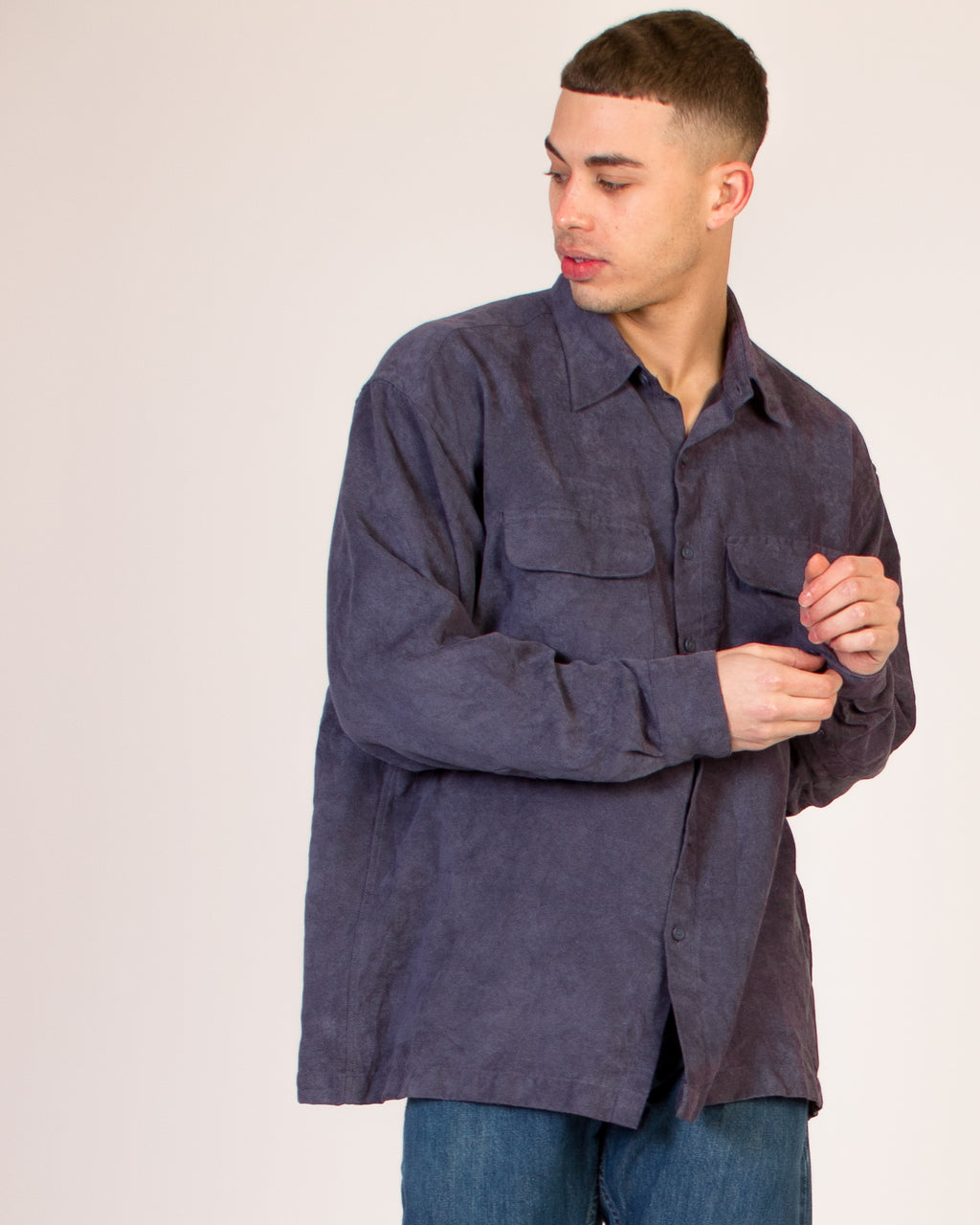 NAVY BLUE SUEDE SHIRT
