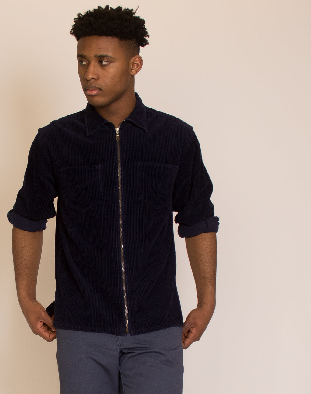 BLUE SUEDE COLLAR JACKET