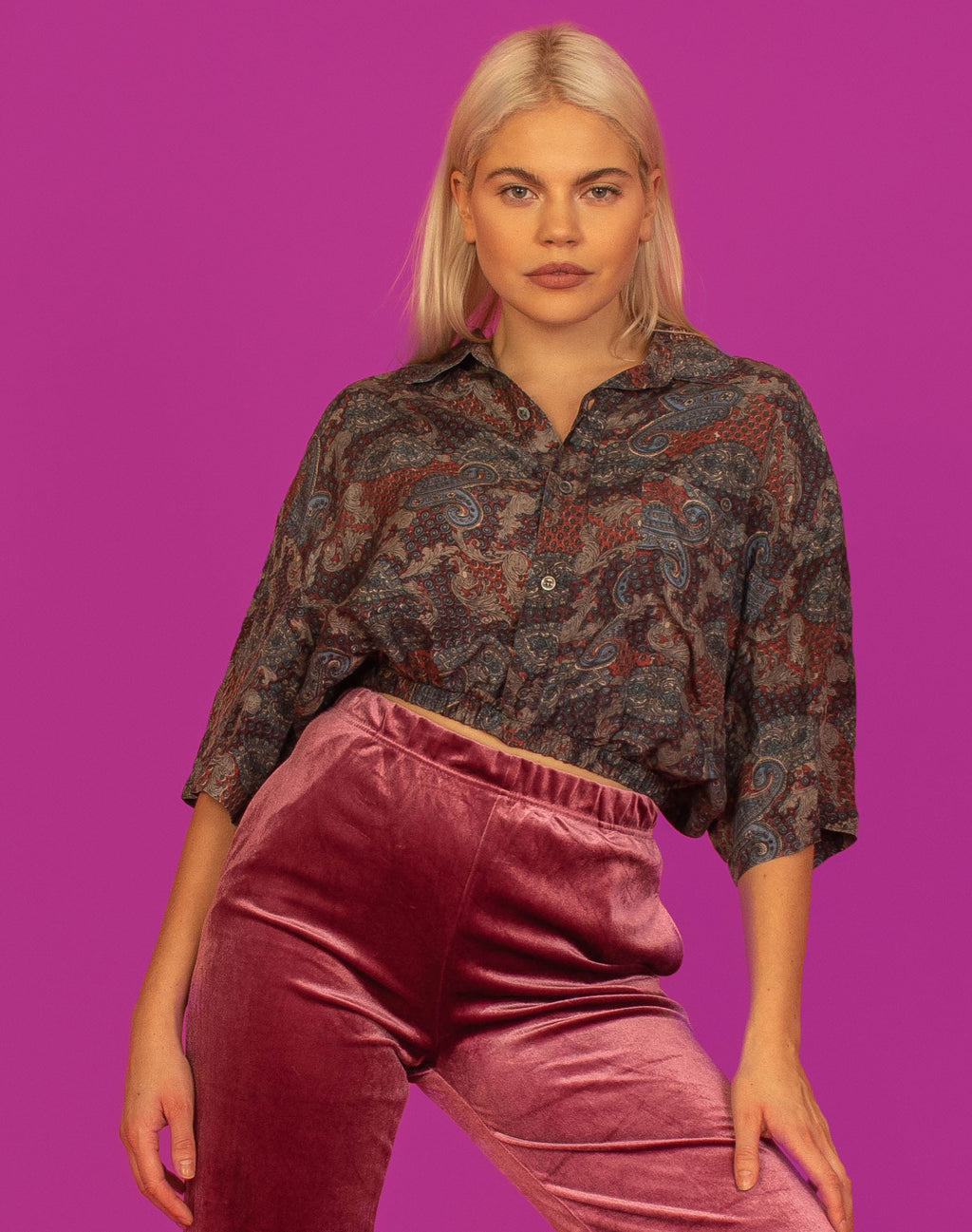 PAISLEY CROPPED SILK SHIRT