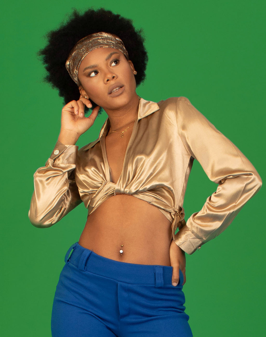GOLD SATIN TIE FRONT SHIRT