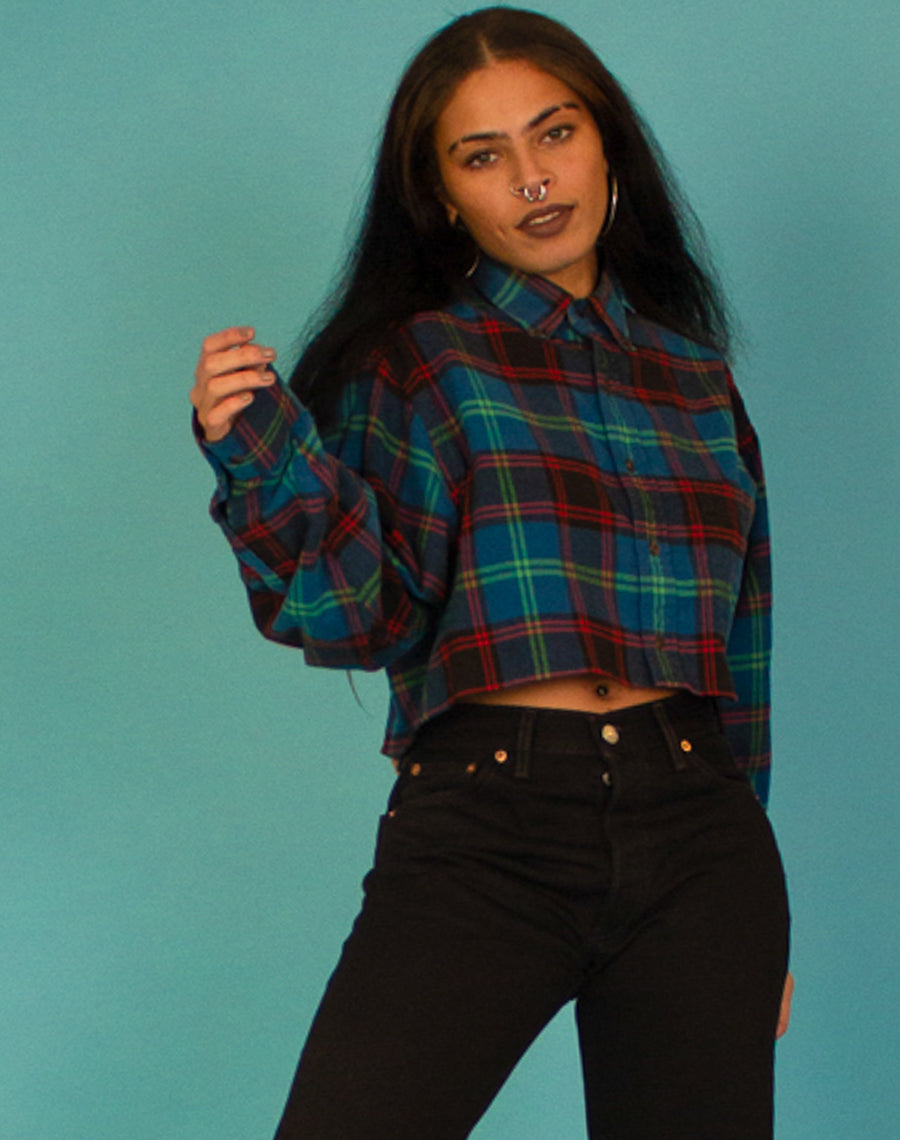CHECKERED CROPPED SHIRT