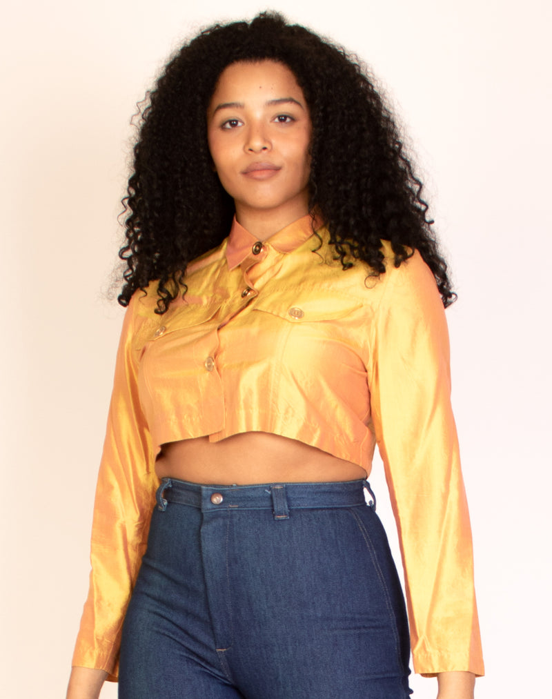 GOLD CROPPED SHIRT